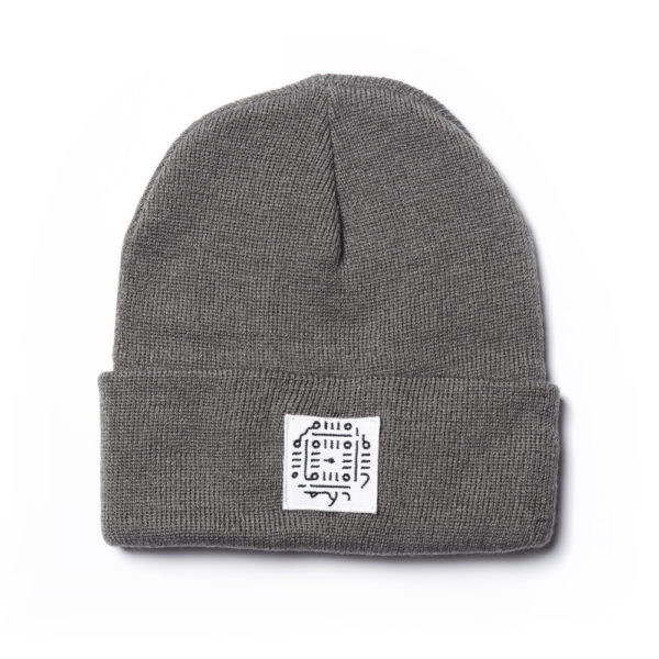 Gray Beanie with Unique Patch