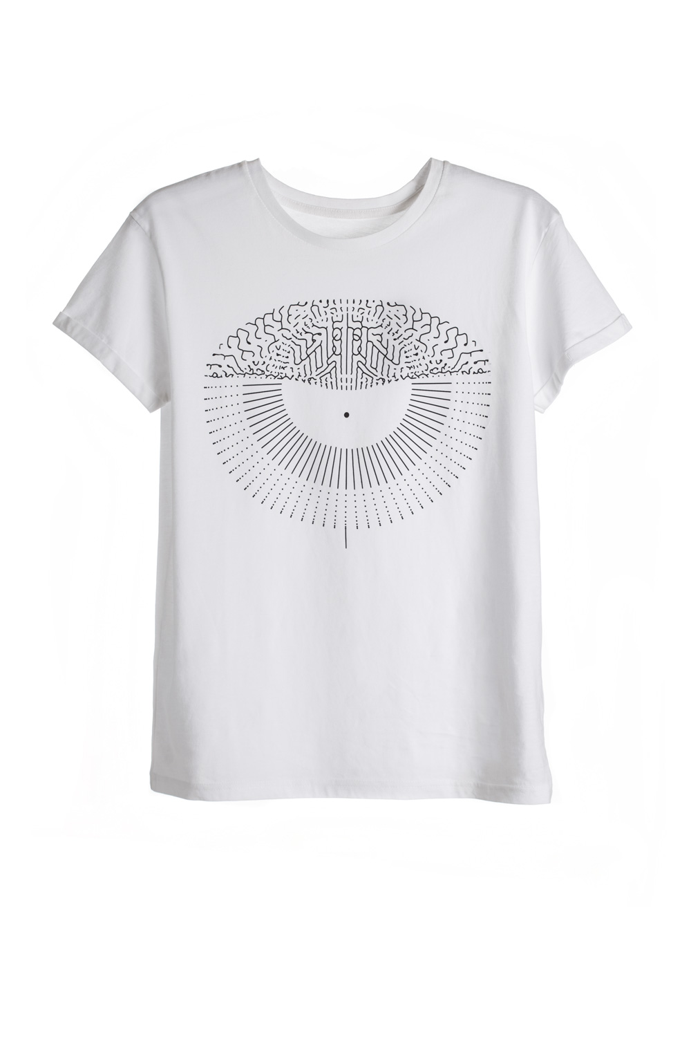 White Eye Print T-shirt short sleeve round neckline