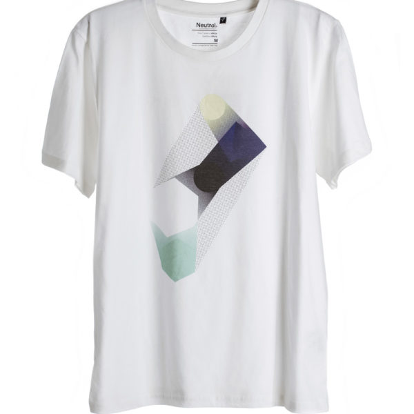 unisex White Polygon Print T-shirt short sleeve