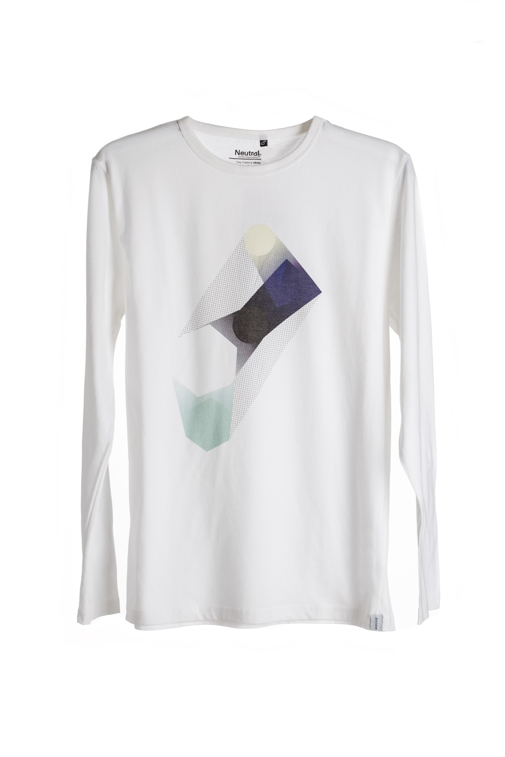 white man Polygon Print T-shirt long sleeve