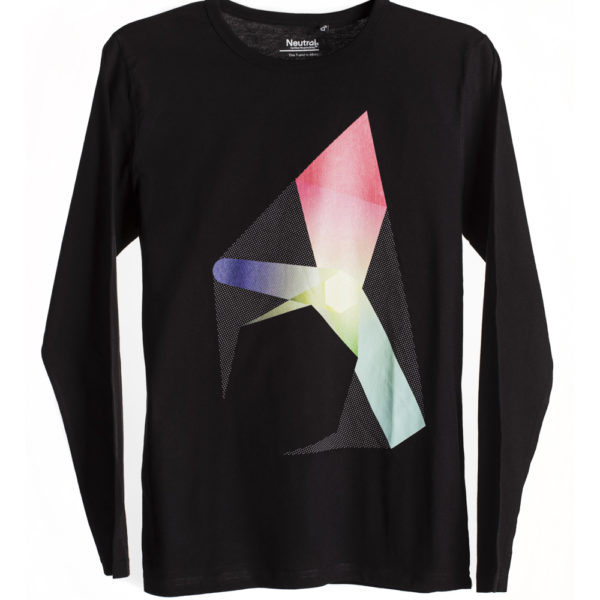 Black Polygon Print T-shirt long sleeve