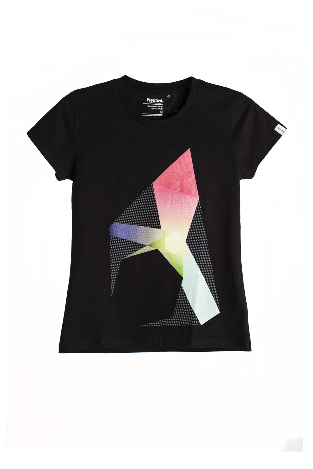 woman Black Polygon Print T-shirt short sleeve
