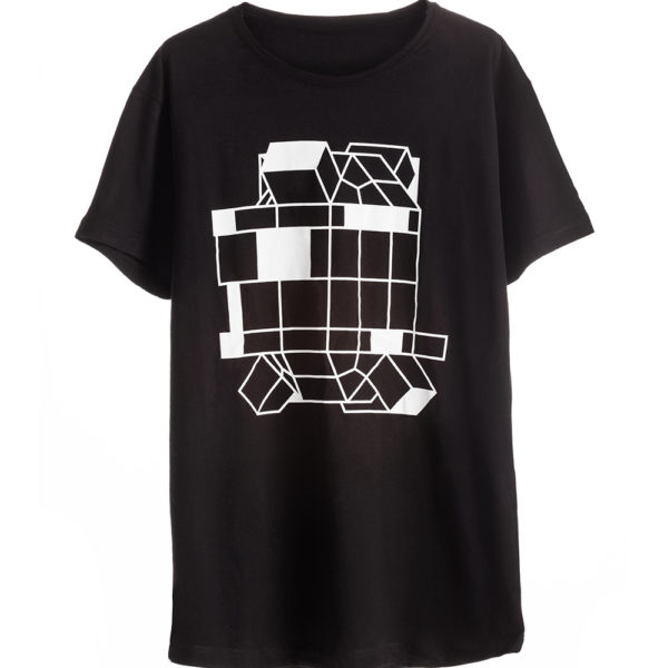 Black Man Cotton T-shirt with Robot Print