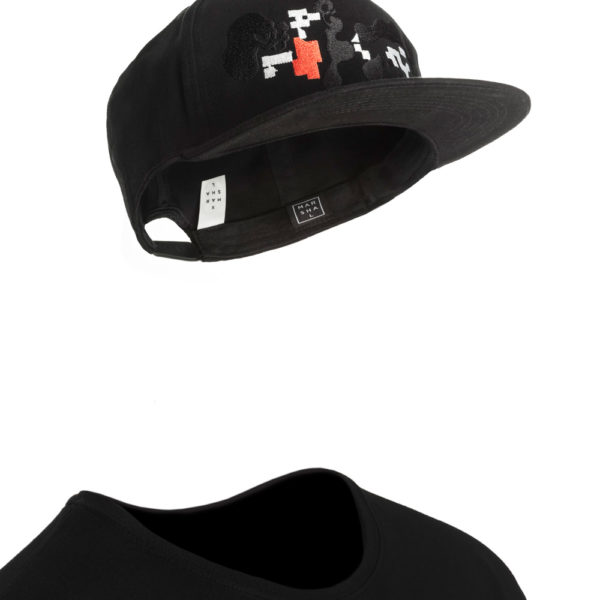 Cotton Unisex Black Snapback with color Pattern