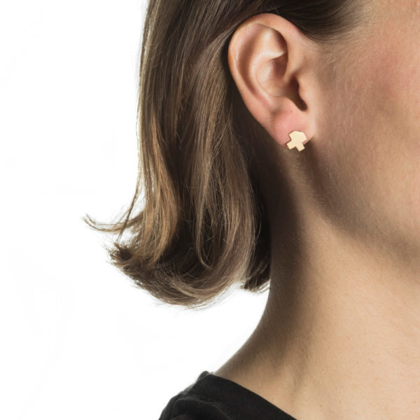 Handcrafted Gold and Silver Full Pixel Earring from hypoallergenic stainless steel