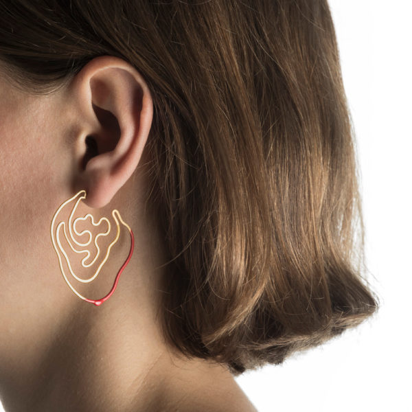 Gold Red Labyrinth Earring hypoallergenic stainless steel