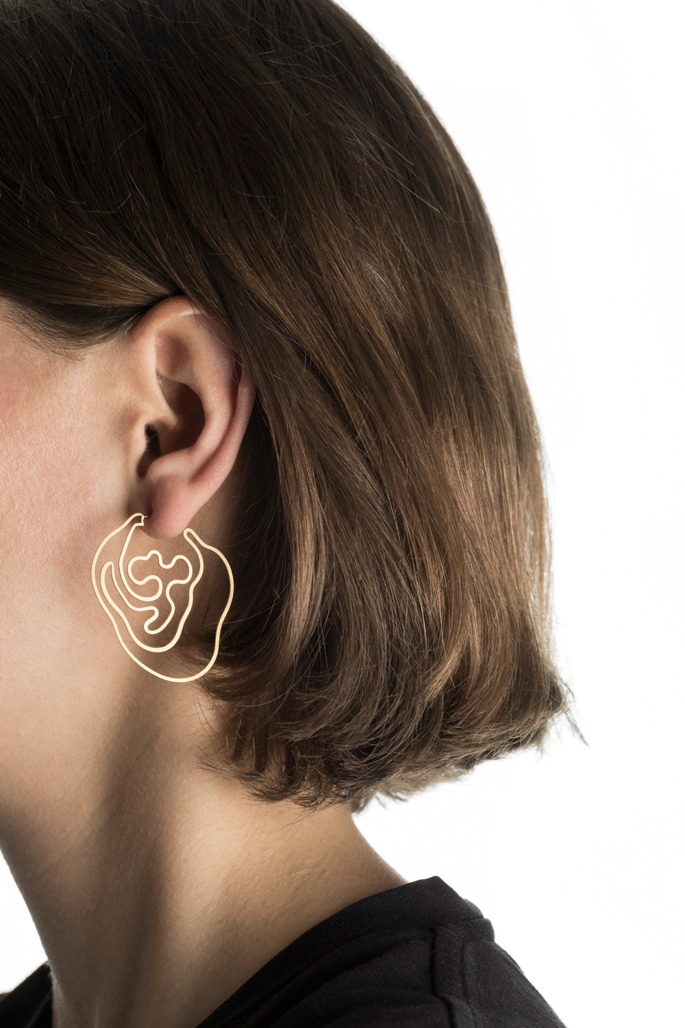 Gold Labyrinth Earring hypoallergenic stainless steel