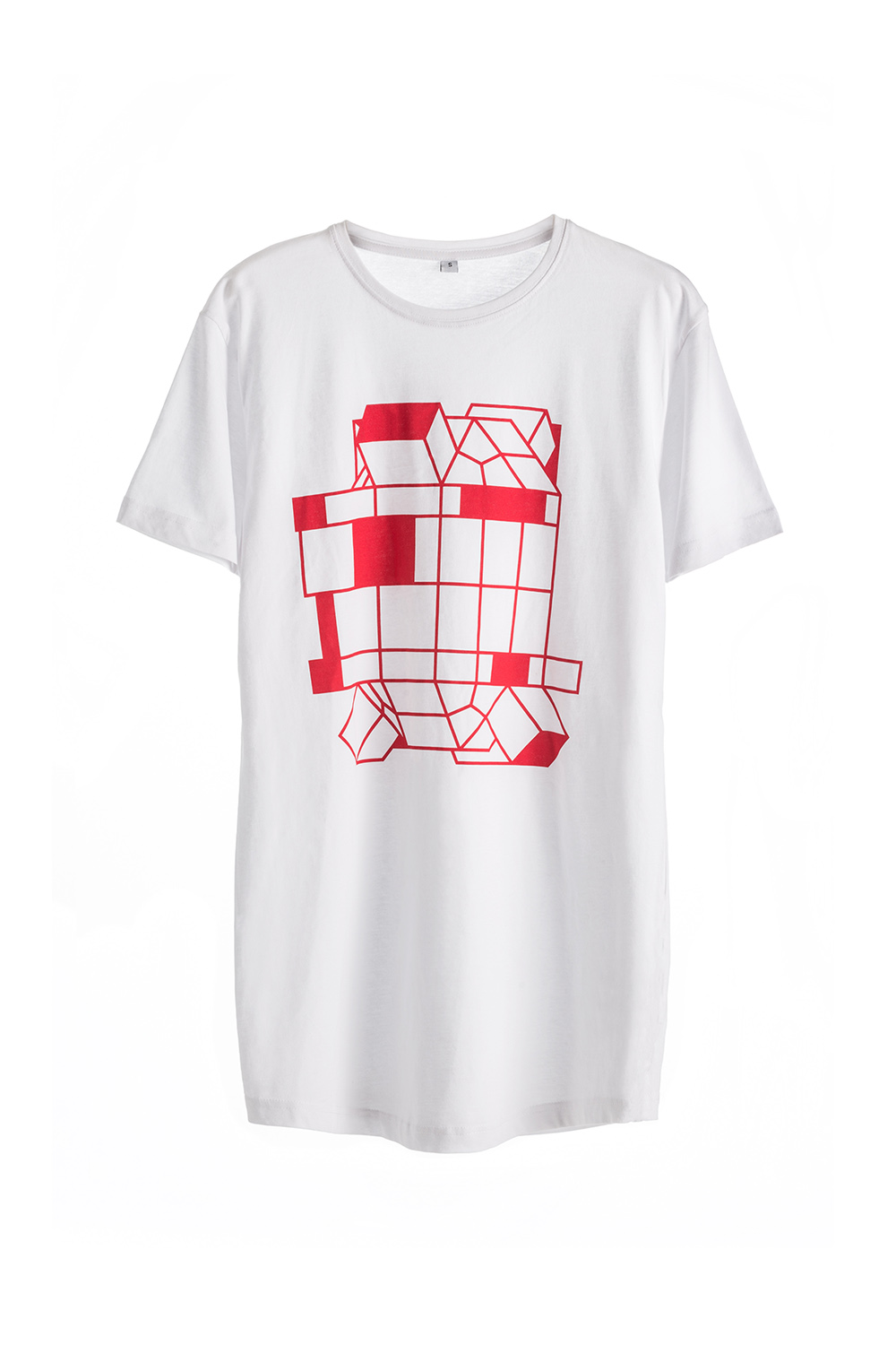 Cotton Man T-shirt with Robot White Red print Short Sleeve