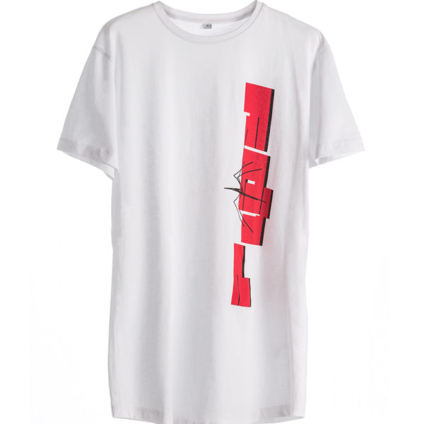 Cotton man white T-shirt Short Sleeve with red Spider print