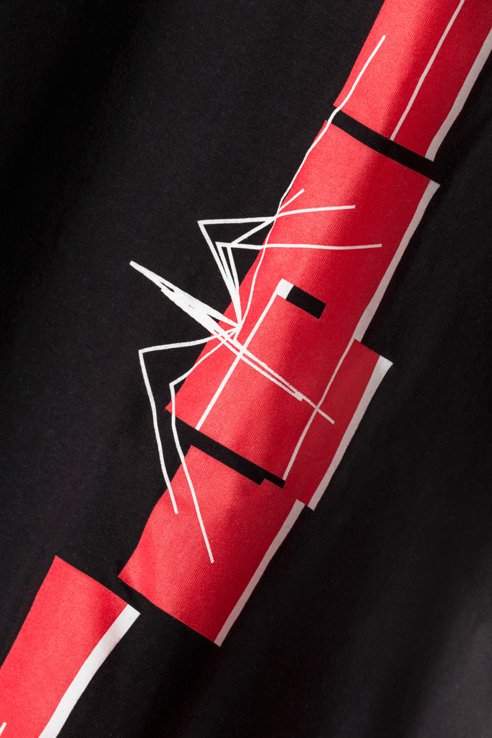 Cotton Man T-shirt Black Short Sleeve with Spider Red Print
