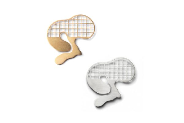 Gold Silver Big Grid Brooch hypoallergenic stainless steel