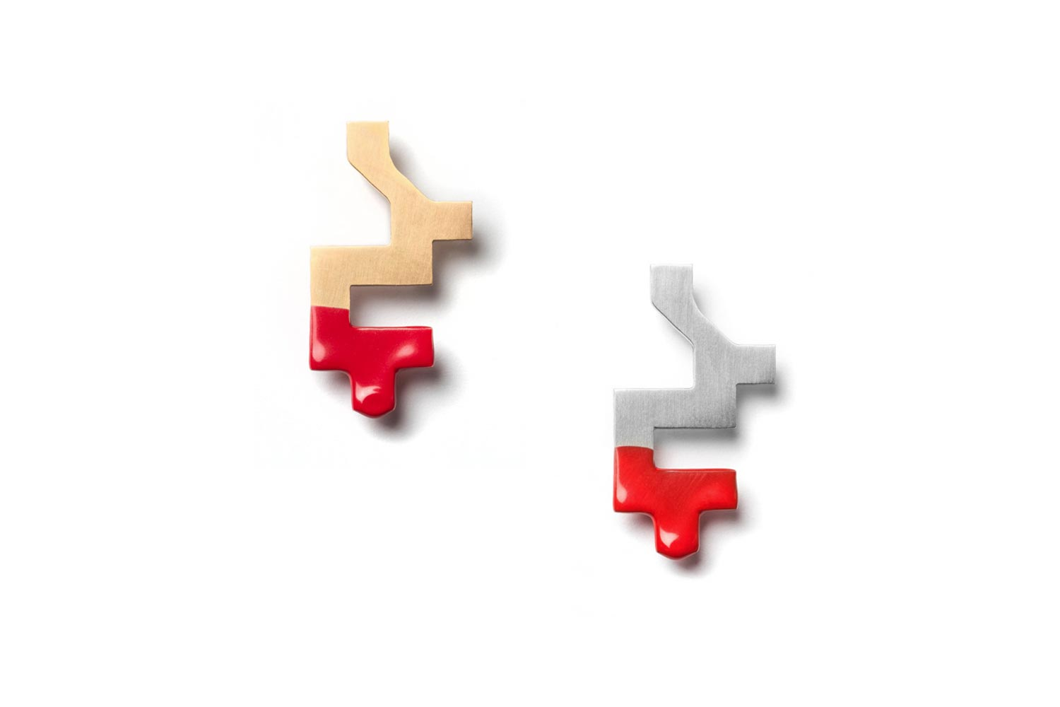 Full Silver Gold Pixel Red Brooch hypoallergenic stainless steel