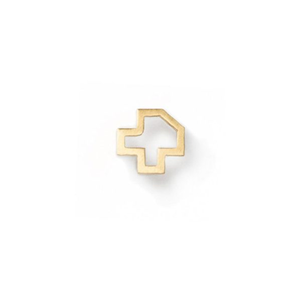 Gold and Silver Outine Pixel Earring hypoallergenic stainless steel