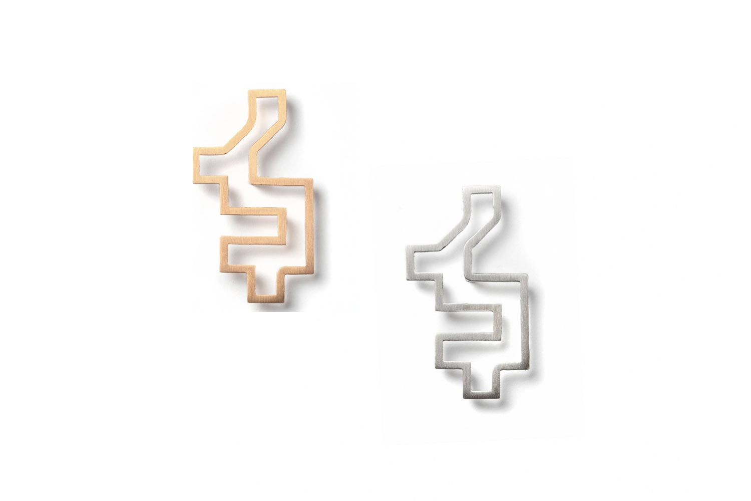 Outline gold silver Pixel Brooch hypoallergenic stainless steel