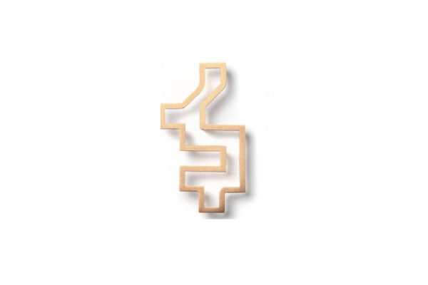 Outline gold Pixel Brooch hypoallergenic stainless steel