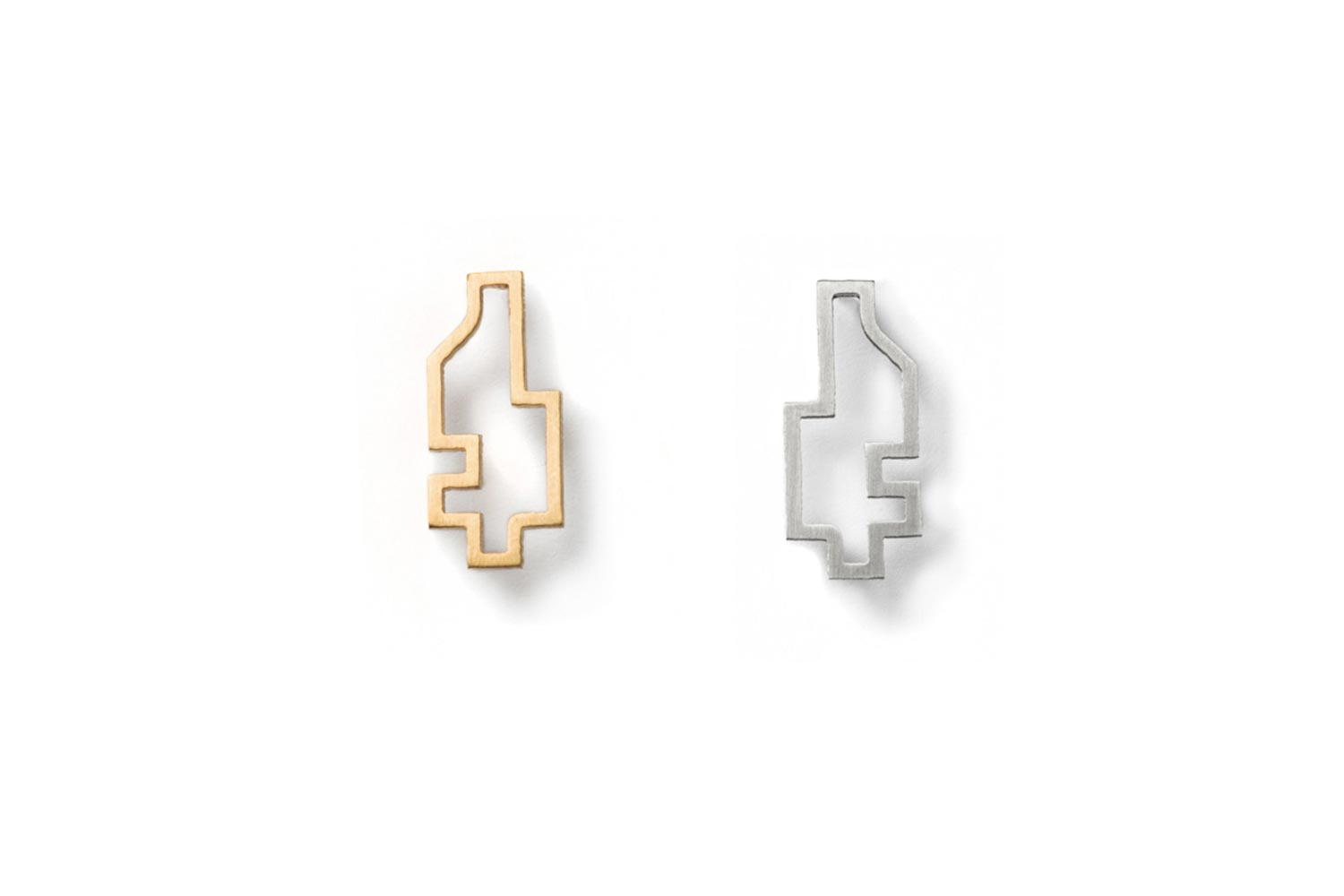 Gold and Silver Big Outline Pixel Earring hypoallergenic stainless steelg