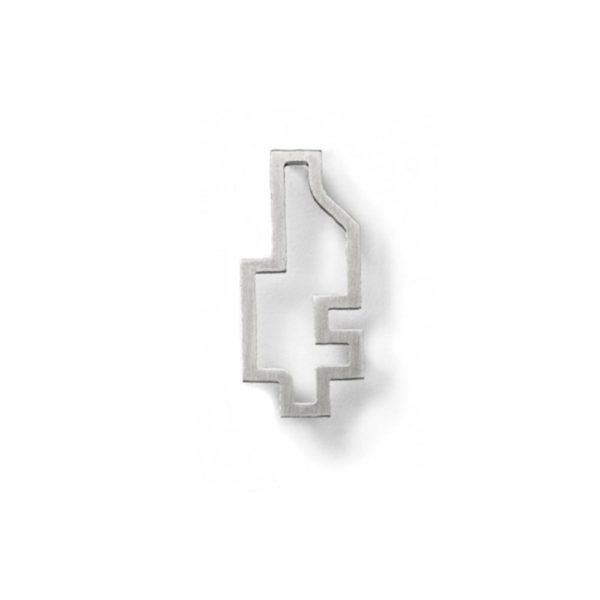 Silver Big Outline Pixel Earring hypoallergenic stainless steelg