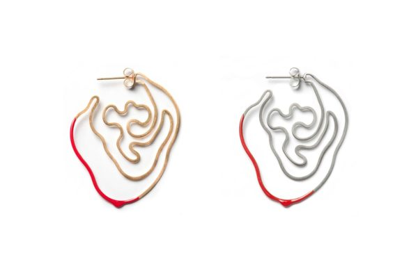 Silver or Gold with Red Labyrinth Earring hypoallergenic stainless steel