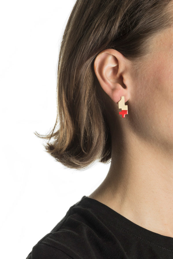 Big Gold Red Pixel Earring